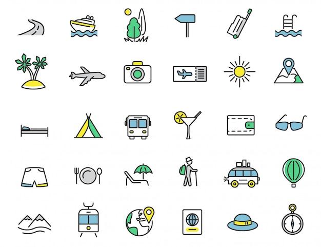 Set van lineaire reizen pictogrammen toerisme pictogrammen