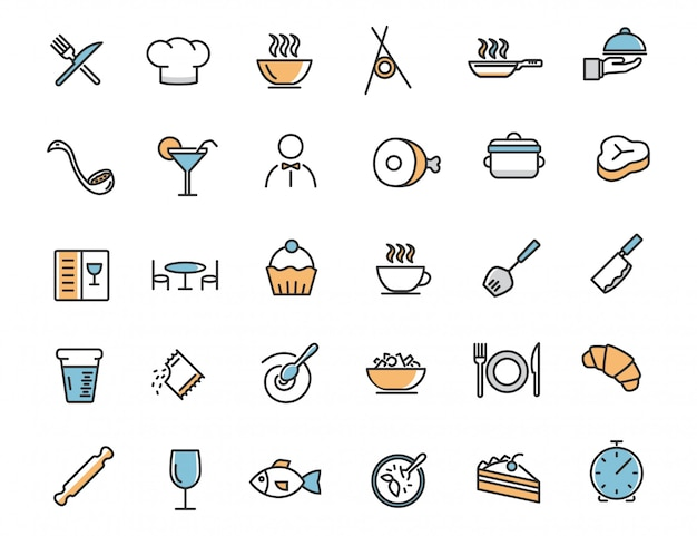Set van lineaire restaurant pictogrammen voedsel pictogrammen