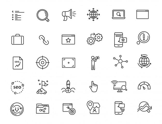 Set van lineaire seo-pictogrammen