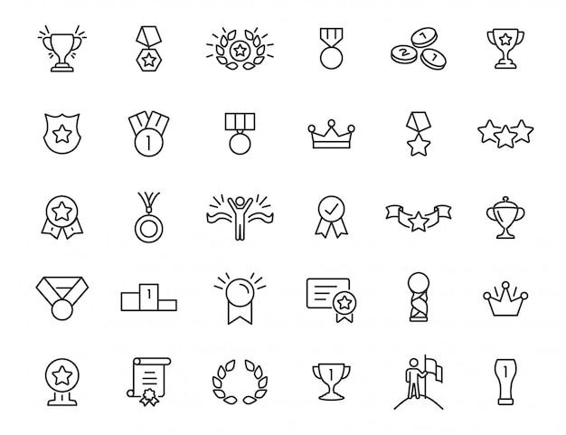Set van lineaire trofee iconen. awardpictogrammen in eenvoudig ontwerp. vector illustratie