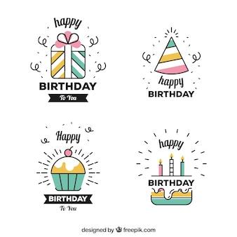 Set van lineaire verjaardagstickers