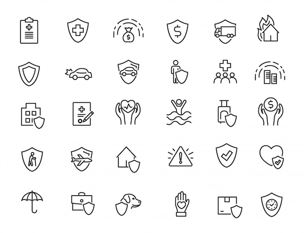 Set van lineaire verzekering pictogrammen financiën bescherming pictogrammen