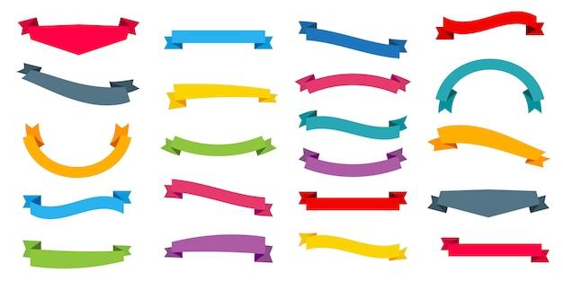 Set van linten op verschillende kleuren