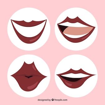 Set van lippen in witte cirkels