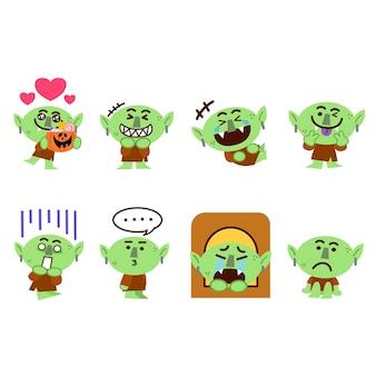Set van little goblin monster character