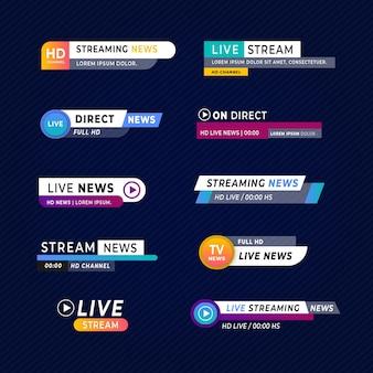 Set van live stream nieuws banners