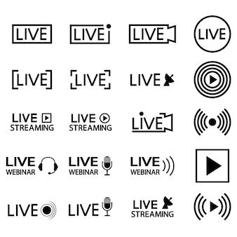 Set van live streaming iconen zwarte omtrek symbolen en knoppen van live streaming uitzendingen