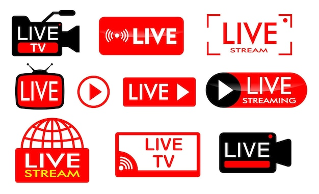 Set van live streaming-pictogram of live-uitzending online concepten in vlakke stijl