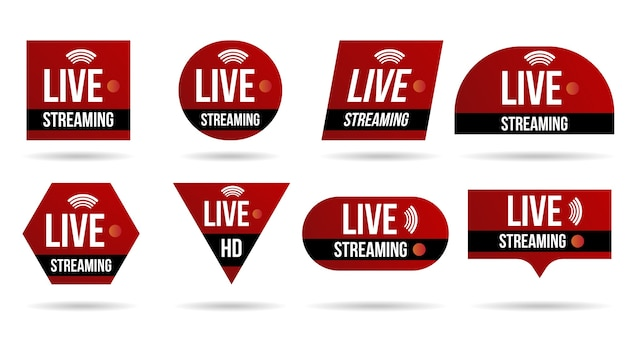 Set van live video streaming pictogrammen logo tv nieuws banner-interface