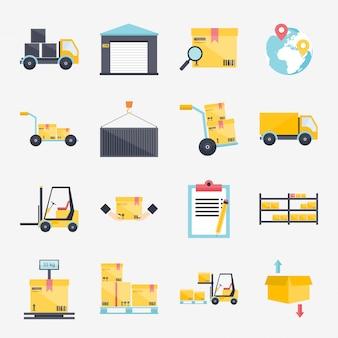 Set van logistieke pictogrammen