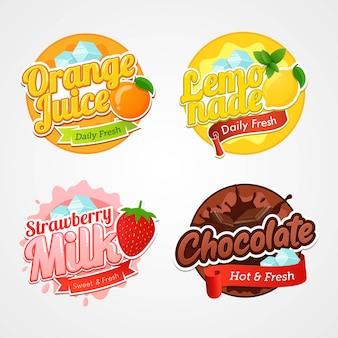 Set van logo-etiketten en badges van verse dranken