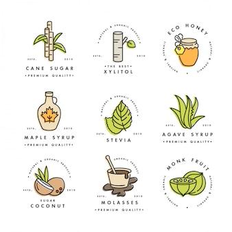 Set van logo's, insignes en pictogrammen voor natuurlijke en biologische producten. inzamelingssymbool van gezonde producten en suikeralternatieven, natuurlijke vervangers.
