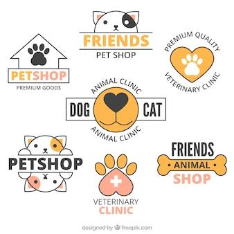 Set van logo's met oranje informatie