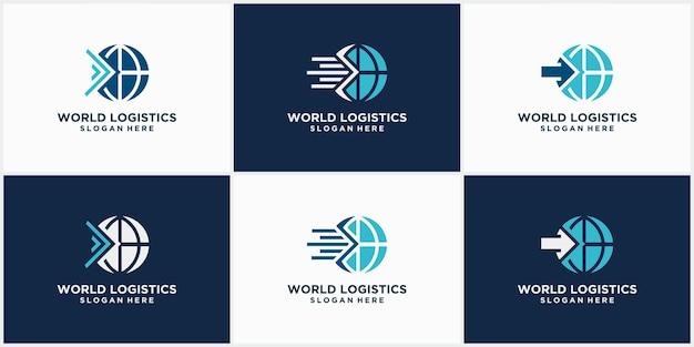 Set van logo's voor logistiek vrachtvervoer bedrijfslogistiek logo's pijlpictogrammen verzendpictogrammen