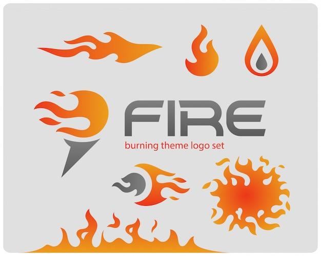 Set van logo's. vuur thema