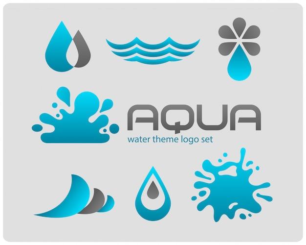 Set van logo's. water thema