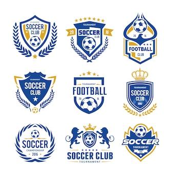 Set van logo van de voetbalfotografie logo