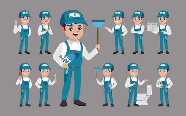 Set van loodgieter met verschillende poses