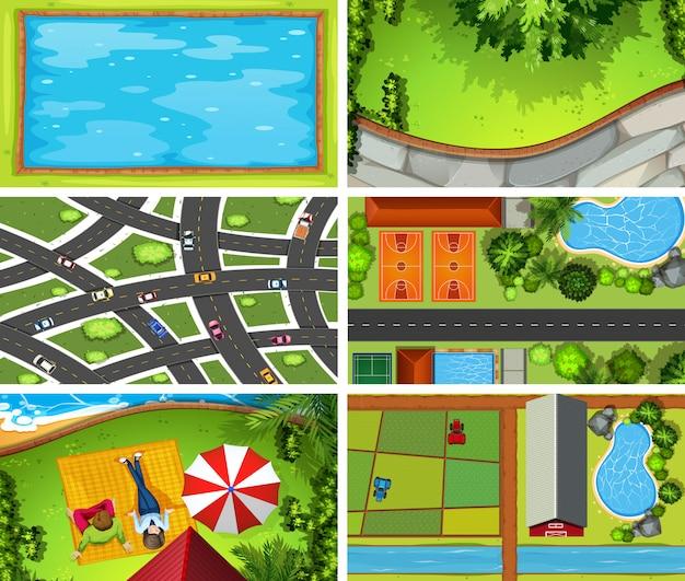 Set van luchtfoto landschap