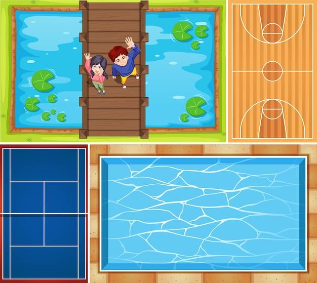 Set van luchtfoto zwembad en basketbalveldscène