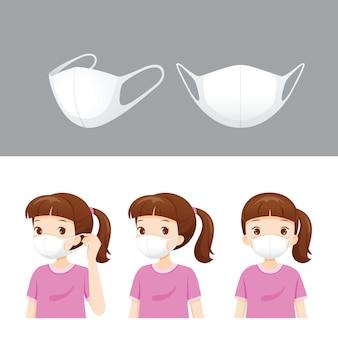 Set van luchtvervuilingsmasker en meisje met masker om stof te beschermen, rook, smog, coronavirus,