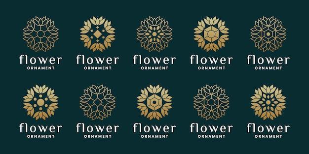 Set van luxe bloemornament, plat en lijntekeningen logo-ontwerp