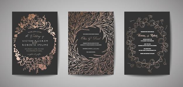 Set van luxe bruiloft save the date, uitnodigingskaarten collectie met bladgoud, bloemen en krans. vector trendy omslag, grafische poster, bloemenbrochure, ontwerpsjabloon