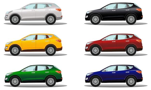 Set van luxe crossover-voertuigen in verschillende kleuren.