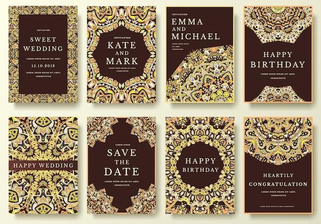 Set van luxe flyer-pagina's met kalligrafische ornament illustratie concept