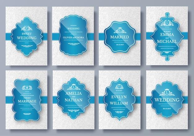 Set van luxe kleuren artistieke pagina's instellen met logo brochure sjabloon. vintage kunstidentiteit, bloemen.
