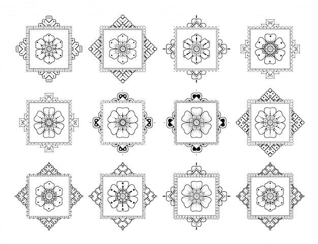 Set van luxe mandala. mehndi bloemdecoratie in etnisch oosters, doodle ornament. overzicht hand tekenen illustratie.