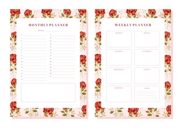 Set van maandelijkse en wekelijkse bloemenplanner met rozen- en bladelementen