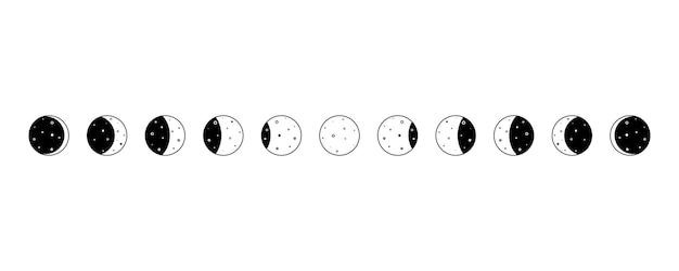 Set van maanfasen halve maan nieuwe volledige oppervlakte en eclips vector astronomie cyclus van satelliet