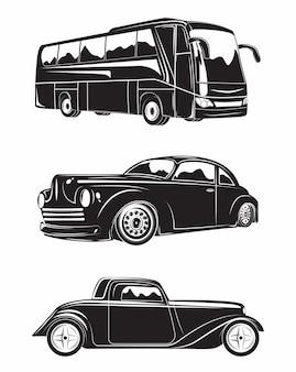 Set van machines excursiebus en hot rod, zwart-wit iconen van machines geïsoleerd op een witte achtergrond