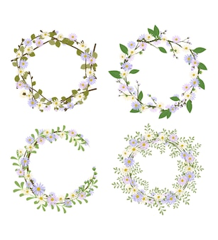 Set van madeliefjekrans. rond frame, schattige paarse en witte bloemen kamille