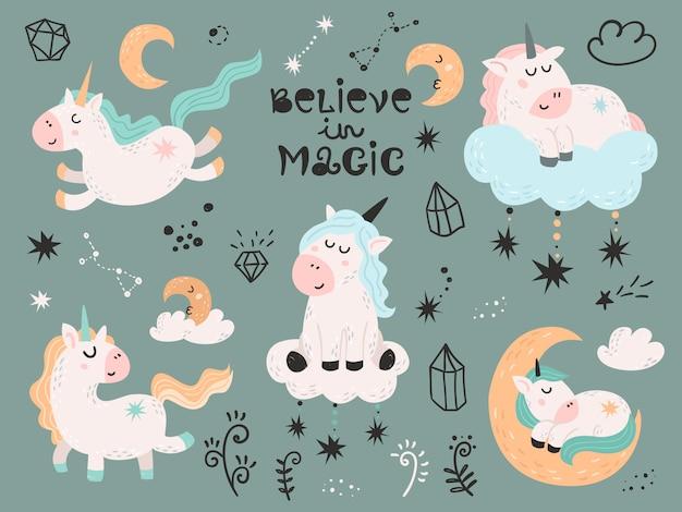Set van magische eenhoorns