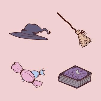 Set van magische hulpmiddelen hand tekenen op illustratie