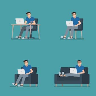 Set van man aan het werk op laptop zit aan bureau, op stoel, fauteuil en liggend op de bank in platte cartoon stijl