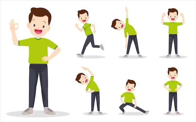 Set van man bij het uitoefenen van verschillende acties. vader zijn verschillende acties om het lichaam gezond te bewegen