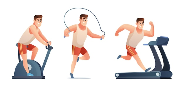 Set van man doet oefening gym fiets springtouw en loopband