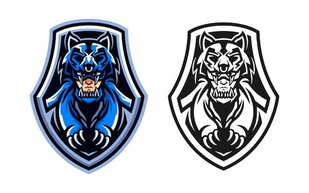 Set van man met wolf jas esport logo mascotte