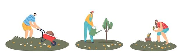 Set van man of vrouw boeren die in de tuin werken, planten verzorgen, groente kweken, bomen water geven, grond op kruiwagen verwijderen. tuinmanpersonages werken bij country ranch. cartoon mensen vectorillustratie