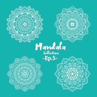 Set van mandala decoratieve en sier ontwerp voor kleurplaat en tattoo