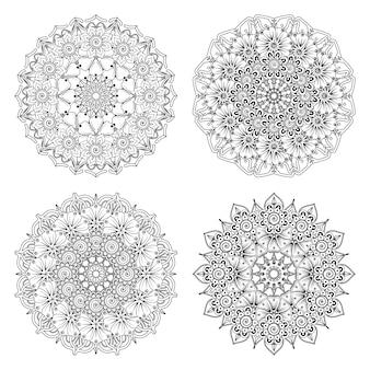 Set van mandala met mehndi-bloem in etnische oosterse stijl fotoboekpagina kleurplaten
