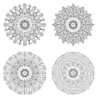 Set van mandala met mehndi bloem ornament in etnische oosterse stijl kleurboekpagina