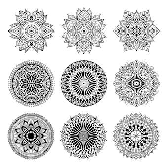 Set van mandala vorm