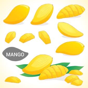 Set van mango in verschillende stijlen vector-formaat