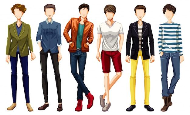 Set van mannelijk karakter