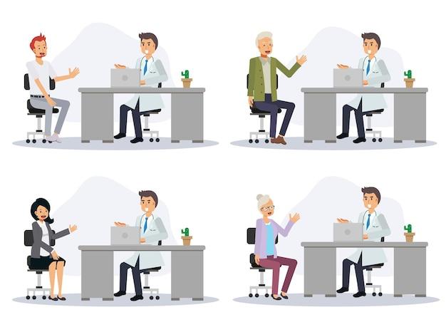 Set van mannelijke arts met verschillende patiënten. platte vector cartoon karakter illustratie.