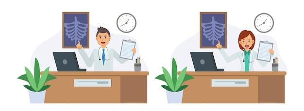 Set van mannelijke en vrouwelijke arts met klembord en laptop die medische presentatie geeft in een ziekenhuiskamer. platte vector cartoon karakter illustratie.